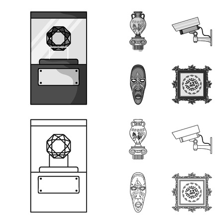 A diamond, a vase on a stand, a surveillance camera, an African mask. Museum set collection icons in outline,monochrome style vector symbol stock illustration web.