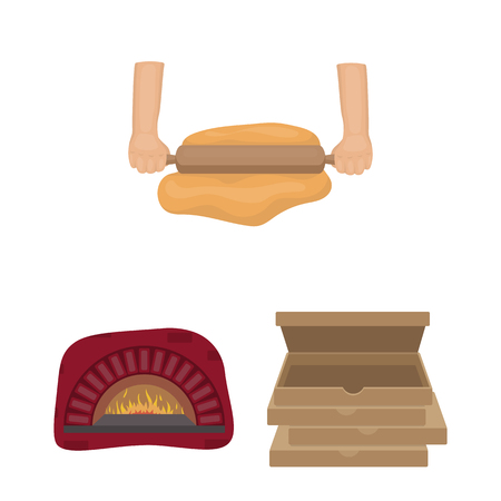 Pizza and pizzeria cartoon icons in set collection for design. Staff and equipment vector symbol stock  illustration. Ilustração