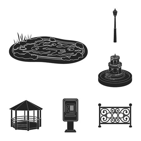 Park, equipment black icons in set collection for design. Walking and rest vector symbol stock web illustration. Illustration