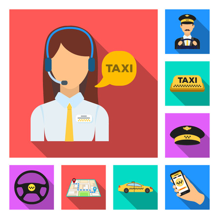 Taxi service flat icons in set collection for design. Taxi driver and transport vector symbol stock  illustration. Vectores