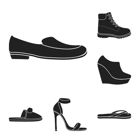 A variety of shoes black icons in set collection for design. Boot, sneakers vector symbol stock illustration. Illustration
