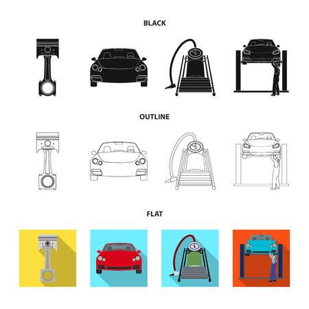 Car on lift, piston and pump black,flat,outline icons in set collection for design.Car maintenance station vector symbol stock illustration .