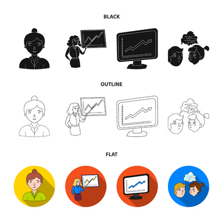 Businesswoman, growth charts, brainstorming.Business-conference and negotiations set collection icons in black,flat,outline style vector symbol stock illustration web.