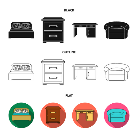Interior, design, bed, bedroom .Furniture and home interiorset collection icons in black,flat,outline style vector symbol stock illustration web.