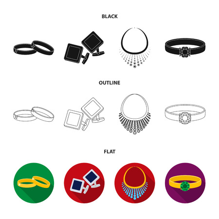 Wedding rings, cuff links, diamond necklace, women ring with a stone. Jewelery and accessories set collection icons in black,flat,outline style vector symbol stock illustration web.