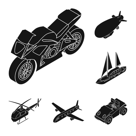 Different types of transport black icons in set collection for design. Car and ship isometric vector symbol stock  illustration.