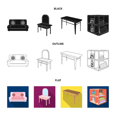 Soft sofa, toilet make-up table, dining table, shelving for laundry and detergent. Furniture and interior set collection icons in black,flat,outline style isometric vector symbol stock illustration .