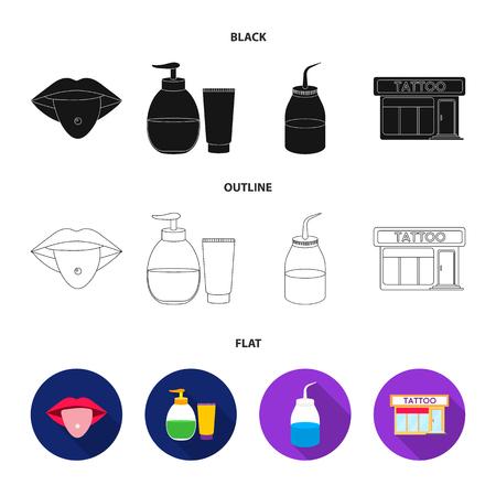 Piercing dans la langue, gel, sallon. Tatouage mis icônes de la collection en noir, plat, contour style vecteur symbole stock illustration web.