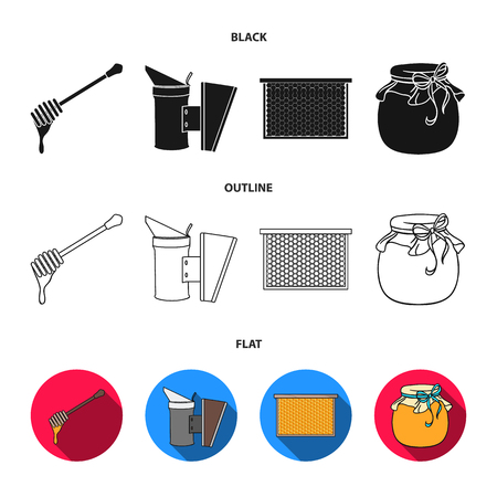 A frame with honeycombs, a ladle of honey, a fumigator from bees, a jar of honey.Apiary set collection icons in black,flat,outline style vector symbol stock illustration web.