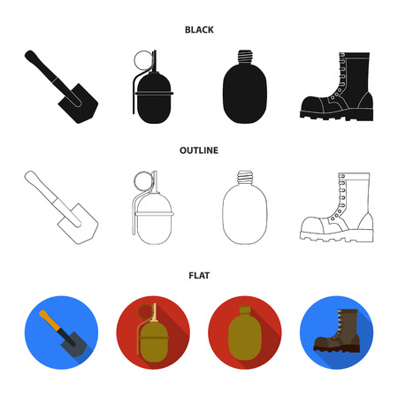 Sapper blade, hand grenade, army flask, soldier boot. Military and army set collection icons in black,flat,outline style vector symbol stock illustration .