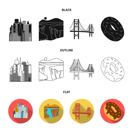 A megacity, a grand canyon, a golden gate bridge, donut with chocolate. The US country set collection icons in black,flat,outline style vector symbol stock illustration