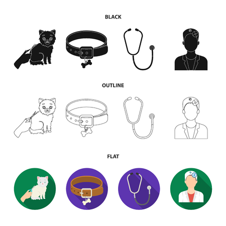 Collar, bone, cat, haircut. Vet Clinic set collection icons in black,flat,outline style vector symbol stock illustration