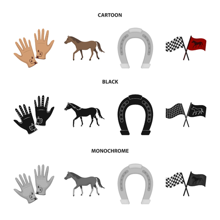 Hippodrome and horse set collection icons in cartoon. 向量圖像