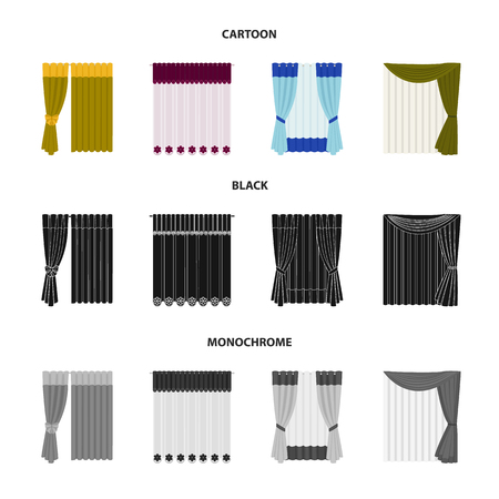 Textiles, furniture bow icons in set collection
