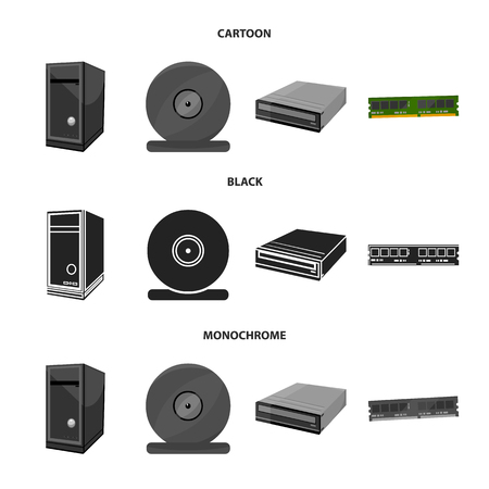 System unit, memory card and other equipment. Personal computer set collection icons in cartoon, black, monochrome style vector symbol stock illustration Archivio Fotografico - 100001785
