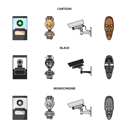 A diamond, a vase on a stand, a surveillance camera, an African mask. Museum set collection icons in cartoon,black,monochrome style vector symbol stock illustration web. Ilustração