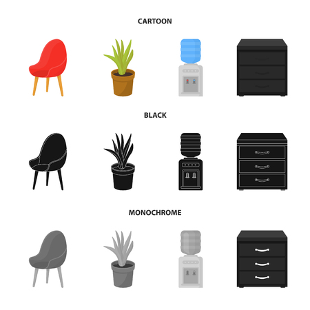 A red chair with a comfortable back, an aloe flower in a pot, an apparatus with clean water, a cabinet for office papers. Office Furniture set collection icons in cartoon, black, monochrome style vector symbol stock illustration