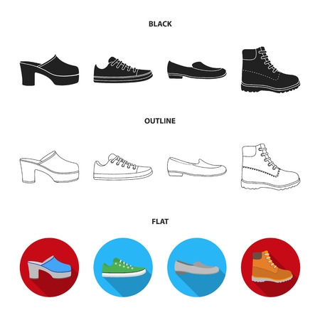 Flip-flops, clogs on a high platform and heel, green sneakers with laces, female gray ballet flats, red shoes on the tractor sole. Shoes set collection icons in black,flat,outline style vector symbol stock illustration web.