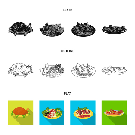 Fried chicken, vegetable salad, shish kebab with vegetables, fried sausages on a plate. Food and Cooking set collection icons in black,flat,outline style vector symbol stock illustration web. Ilustrace