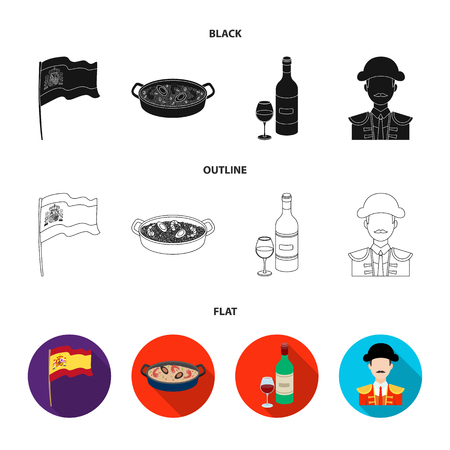 Flag with the coat of arms of Spain, a national dish with rice and tomatoes, a bottle of wine with a glass, a bullfighter, a matador. Spain country set collection icons in black,flat,outline style vector symbol stock illustration web.