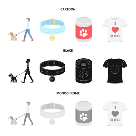 A man walks with a dog, a collar with a medal, food, a T-shirt I love dog.Dog set collection icons in cartoon,black,monochrome style vector symbol stock illustration web.