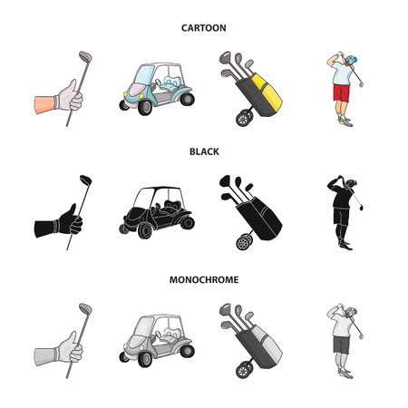 A gloved hand with a stick, a golf cart, a trolley bag with sticks in a bag, a man hammering with a stick. Golf Club set collection icons in cartoon,black,monochrome style vector symbol stock illustration web.