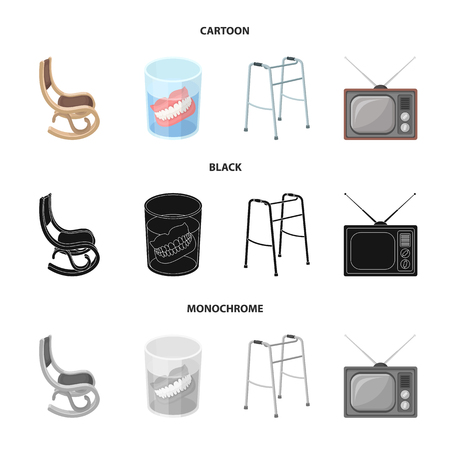 Denture, rocking chair, walker, old TV. Old age set collection icons in cartoon, black, monochrome style vector symbol stock illustration web.