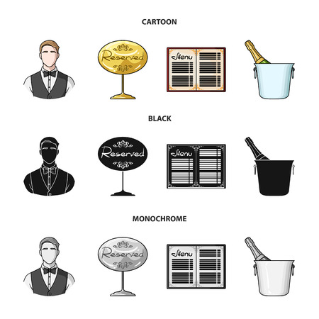 Waiter, reserve sign, menu, champagne in an ice bucket. Restaurant set collection icons in cartoon, black, monochrome style vector symbol stock illustration web.