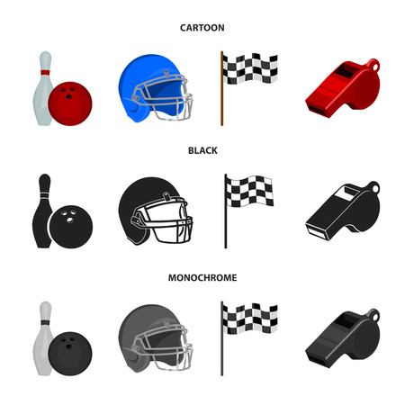 Bowl and bowling pin for bowling, protective helmet for playing baseball, checkbox, referee, whistle for coach or referee. Sport set collection icons in cartoon,black,monochrome style vector symbol stock illustration web. Illustration
