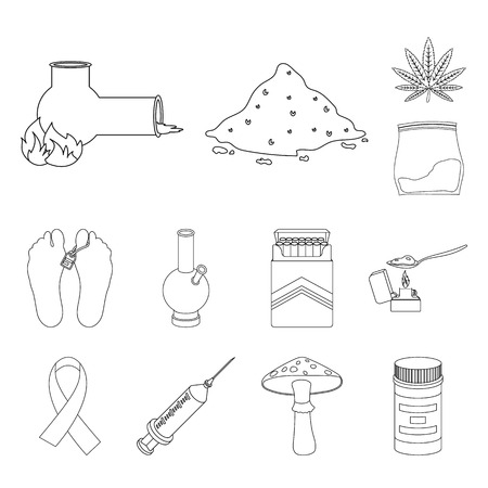 Drug addiction and attributes outline icons in set collection for design. Addict and Drug vector symbol stock  illustration.