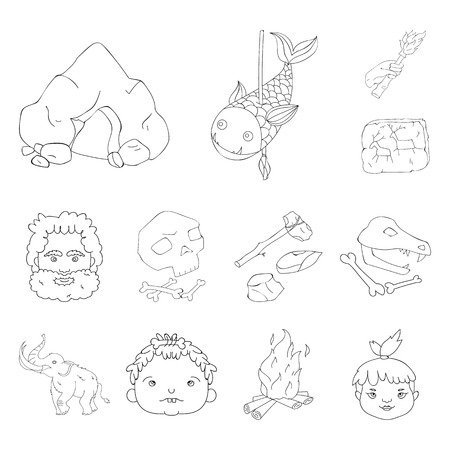 Life in the Stone Age outline icons in set collection for design. Ancient people vector symbol stock  illustration. Иллюстрация