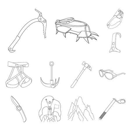 Mountaineering and climbing outline icons in set collection for design. Equipment and accessories vector symbol stock web illustration. Stock Photo