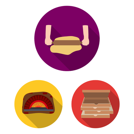 Pizza and pizzeria flat icons in set collection for design. Staff and equipment vector symbol stock  illustration.