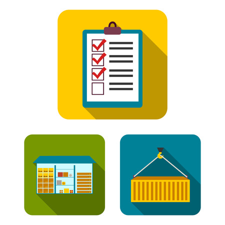Logistics service flat icons in set collection for design. Logistics and equipment vector symbol stock  illustration.  イラスト・ベクター素材
