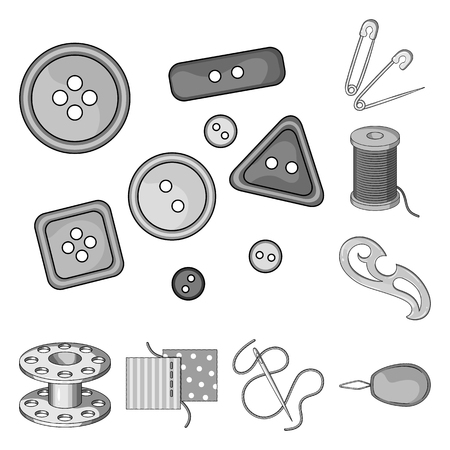 Sewing, atelier monochrome icons in set collection for design. Tool kit vector symbol stock web illustration.