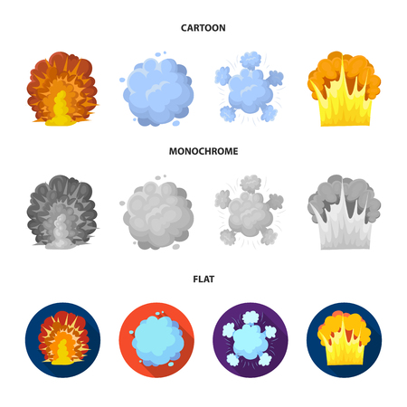Flame, sparks, hydrogen fragments, atomic or gas explosion. Explosions set collection icons in cartoon,flat,monochrome style vector symbol stock illustration web. Banco de Imagens - 100076281