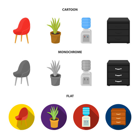 A red chair with a comfortable back, an aloe flower in a pot, an apparatus with clean water, a cabinet for office papers. Office Furniture set collection icons in cartoon,flat,monochrome style vector symbol stock illustration web. 向量圖像