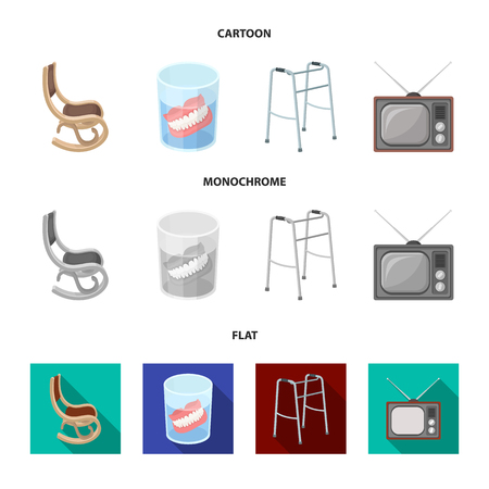 Denture, rocking chair, walker, old TV.Old age set collection icons in cartoon,flat,monochrome style vector symbol stock illustration web. Foto de archivo - 100076343