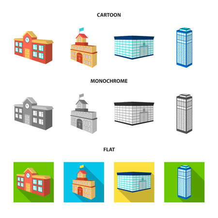 Bank office, skyscraper, city hall building, college building. Architectural and structure set collection icons in cartoon,flat,monochrome style vector symbol stock illustration web.