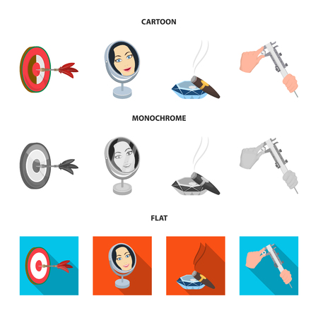 Game Darts, reflection and other web icon in cartoon,flat,monochrome style. Cigar , calipers icons in set collection.