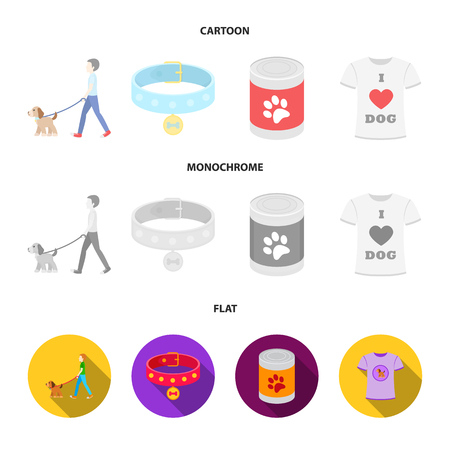 A man walks with a dog, a collar with a medal, food, a T-shirt I love dog.Dog set collection icons in cartoon,flat,monochrome style vector symbol stock illustration web. Foto de archivo - 100076376