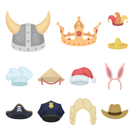 Different kinds of hats cartoon icons in set collection for design. Headdress vector symbol stock web illustration.