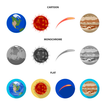 Earth, Jupiter, the Sun of the Planet of the Solar System. Asteroid, meteorite. Planets set collection icons in cartoon,flat,monochrome style vector symbol stock illustration web. Vettoriali