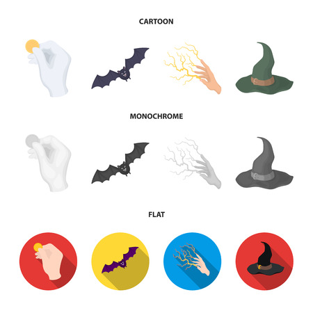 Focus with a coin, a bat, a mage hat, a lightning fast spell.Black and white magic set collection icons in cartoon,flat,monochrome style vector symbol stock illustration web.