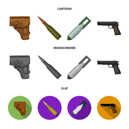 Holster, cartridge, air bomb, pistol. Military and army set collection icons in cartoon,flat,monochrome style vector symbol stock illustration web. Ilustração