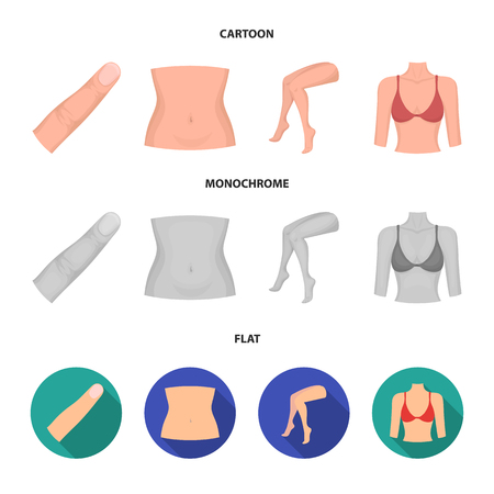 Finger, female feet, female, bust. Part of the body set collection icons in cartoon,flat,monochrome style vector symbol stock illustration web. Иллюстрация