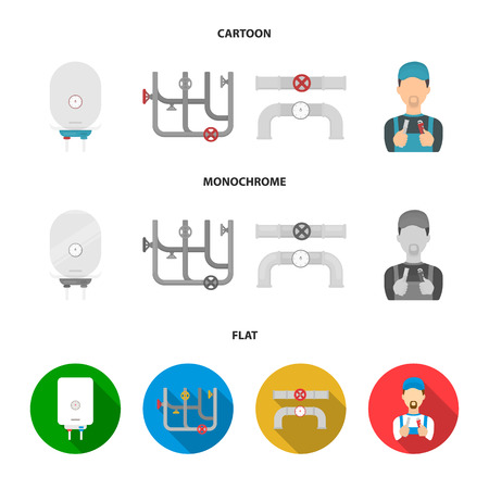 Boiler, plumber, ventils and pipes.Plumbing set collection icons in cartoon,flat,monochrome style vector symbol stock illustration web.