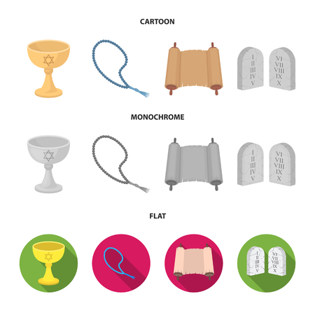 A cup of wine, Islamic beads, ten commandments, tanakh. Religion set collection icons in cartoon,flat,monochrome style vector symbol stock illustration web. Illustration