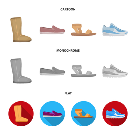 Beige ugg boots with fur, brown loafers with a white sole, sandals with a fastener, white and blue sneakers. Shoes set collection icons in cartoon,flat,monochrome style vector symbol stock illustration web.