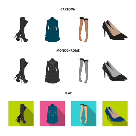 Women high boots, coats on buttons, stockings with a rubber band with a pattern, high-heeled shoes. Women clothing set collection icons in cartoon,flat,monochrome style vector symbol stock illustration web.